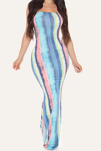 front_Maxine Eileen Blue Striped Bodycon Dress