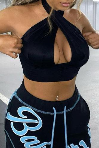 back_Griselda Jablich Black Crisscross Cutout Crop Top