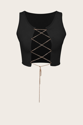 front_Smith seven Black Lace-Up Crop Top