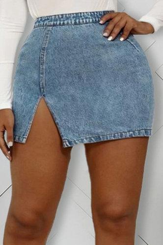 front_Milly Elma Wash Blue Slit Hem Skirt