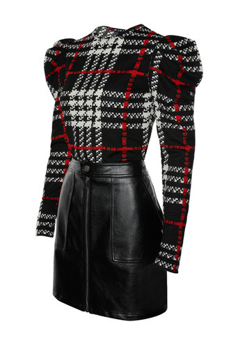 back_The Big Apple Black And White Plaid Long Sleeve Top