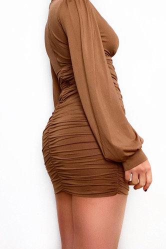 back_Stacked Mini Deep V Neck Regular Sleeve Brown Plain Dresses
