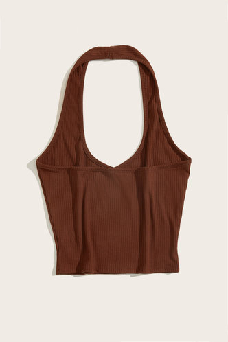 back_Dahlia Brown Halter Top