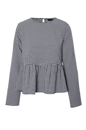 front_Round Neck Plaid Long Sleeve Black And White Gingham Blouses