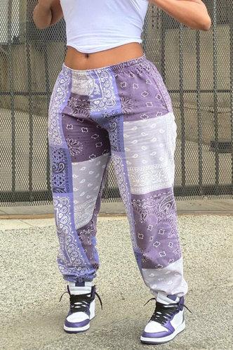 front_Mid Waist All Over Print Colorblock Plus Size Sweatpants