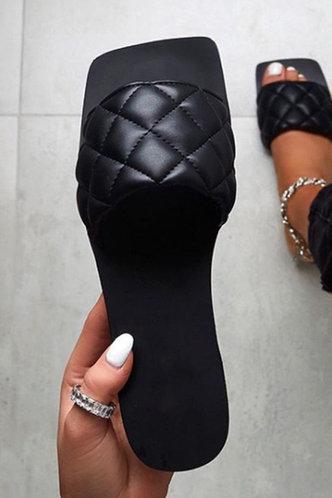 front_Ivory Elva Black Slide Sandals
