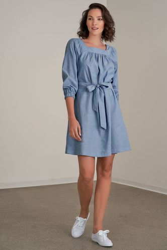 front_We Go Together Blue Chambray Mini Dress