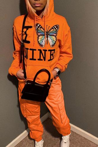 back_Pocket Drawstring Pullover and Orange Sweatshirt Sets