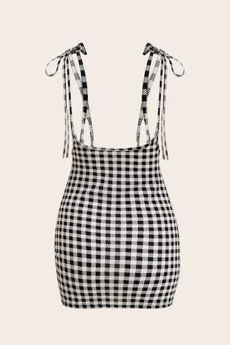 back_Udo Grey Plaid Split Hem Overall Dress