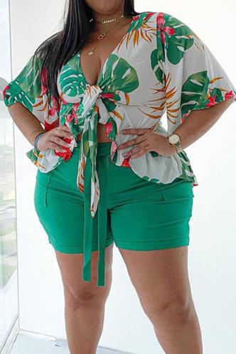 front_Tessa Esther Green Leaf Print Plus Size Shorts Set