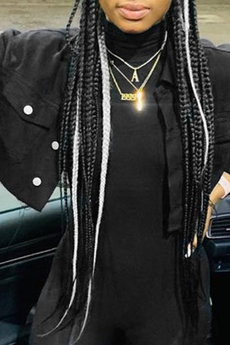 back_Street Collared Plain  Black Outerwear