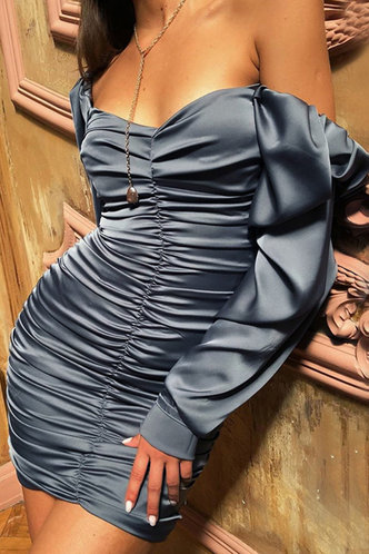 front_Ady Blue Ruched Dress