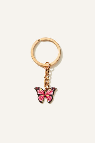 back_Crystal Elsa Pink Butterfly Butterfly Charm Keychain