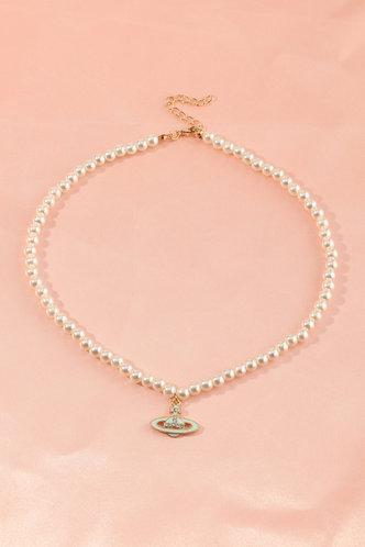 front_Carmelita Elvira White Beaded Necklace 1pc