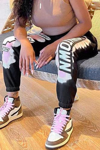 front_Olympia Eartha Black Multi Print Sweatpant
