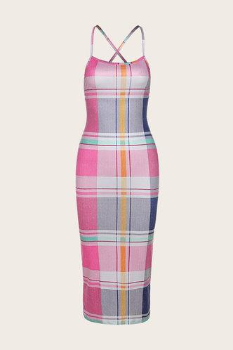back_Evelyn Kradan Plaid Crisscross Open Back Dress