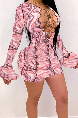 back_Almon Elma Terracotta Marble Print Lace Up Dress