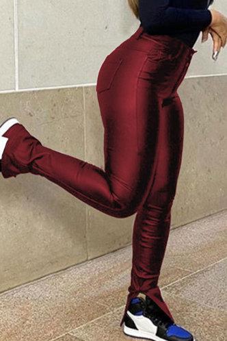 front_Mid Waist Pencil Pants Red Pants