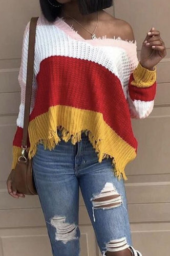 front_V-Neck Colorblock Long Sleeve Sweaters