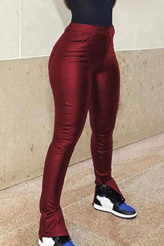 back_Mid Waist Pencil Pants Red Pants