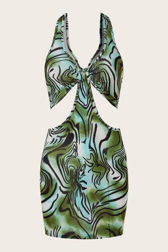 back_Felipa Elva Green Marble Print Cutout Halter Dress