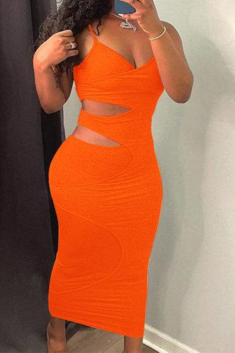 front_Esmeralda Elvira Orange Cutout Side Bodycon Dress