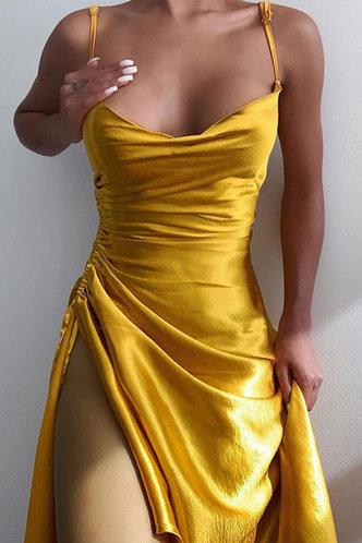 front_Plain  Gold Long Dresses