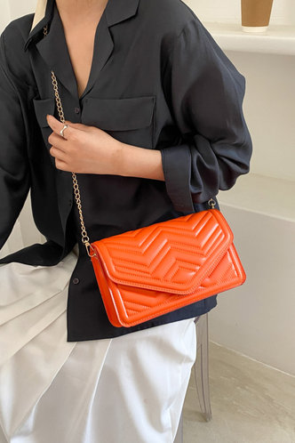 back_Casual Vacation Plain Metallic Button Orange Crossbody Bags