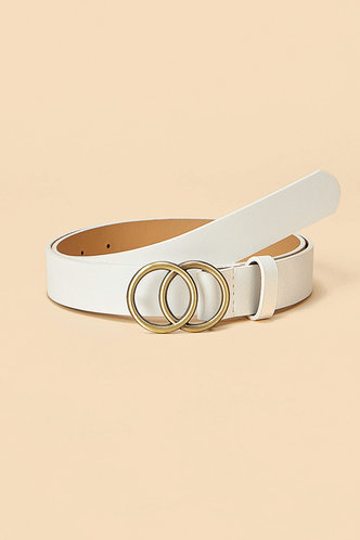 front_Roxanne Edith White Double O-ring Buckle Belt