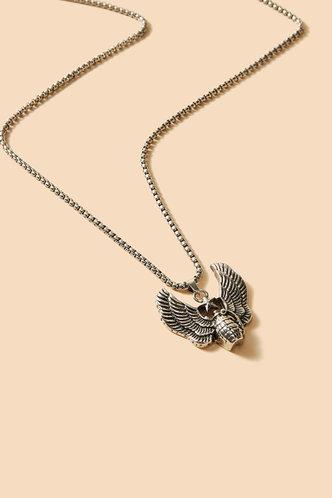 front_Dorcas Elva Silver Wing Decor Necklace