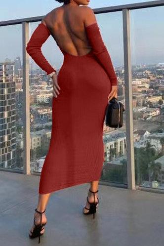 back_Alvina Eve Reddish Brown Rib Knit Off Shoulder Bodycon Dress