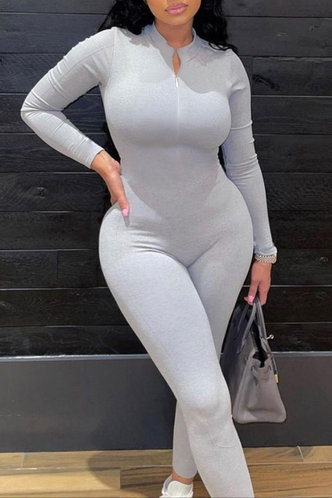 back_Casual Plain Hooded Collar Light Grey Jumpsuits