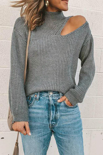 front_Suzan Eileen Grey Cold Shoulder Sweater