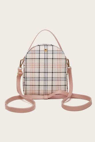 back_Plaid Pink And Plaid Bagpacks
