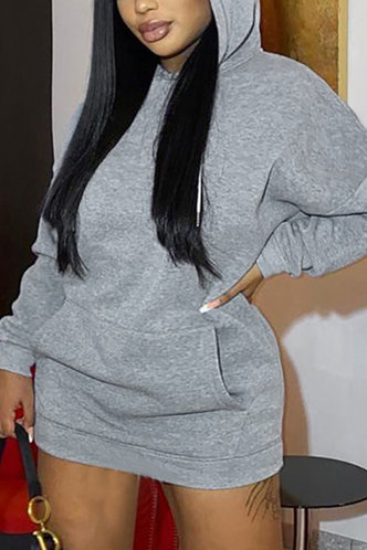 front_Plain Casual Pocket Hooded Collar Dropped Shoulder Long Sleeve Loose Fit Grey Plus Size Dresses