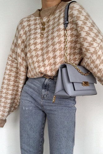 front_Crew Neck Houndstooth Houndstooth Print Sweaters