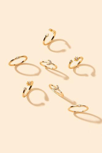 back_Jeannette Eleanore Gold Rhinestone Charm Ring 7pcs
