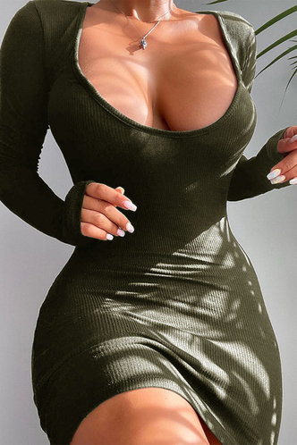 front_Scoop Neck Army Green Mini Dress