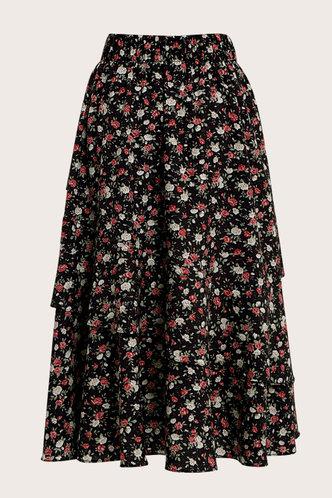 back_Zoey Black Ditsy Floral Midi Skirt