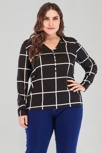 front_Alvira Eden Black And White Plaid Plus Blouse