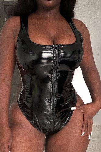 back_Ethel Kodlar Black Zip Up Bodysuit