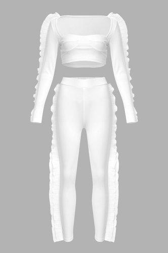 back_Lace Up Elastic Band White Pants Sets