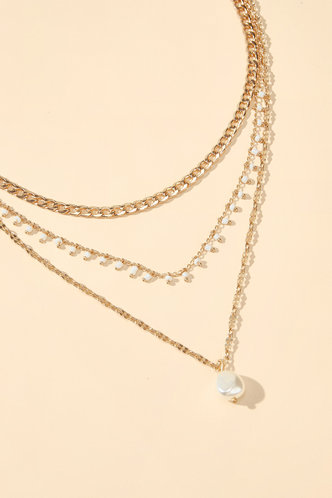 back_Annie Eleanore Gold Faux Pearl Pendant Layered Necklace