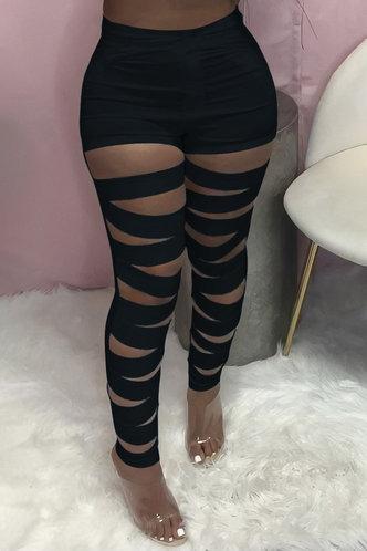 back_High Waist Pencil Pants Black Pants