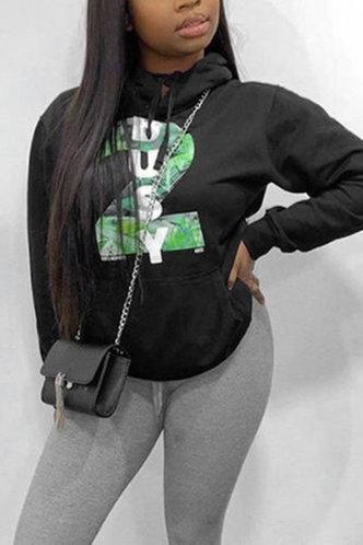 front_Street Hooded Collar Letter Drawstring Black Sweatshirts & Hoodies