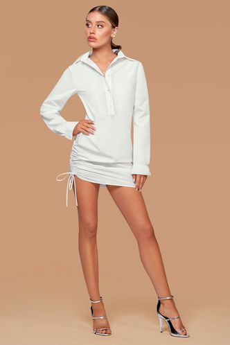 front_New Wonder White Mini Shirt Dress