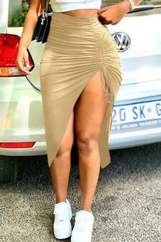 front_Mid Waist Plain Shirred Apricot Skirts