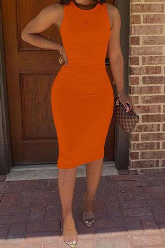 back_Gerda Emma Orange Bodycon Tank  Dress