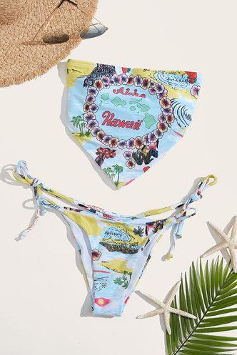 back_Bandeau Neck Letter Figure Multi Print Bikini Sets