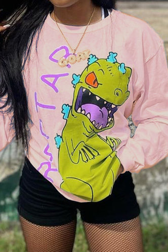 back_Crew Neck   Pullover Pink Sweatshirts & Hoodies